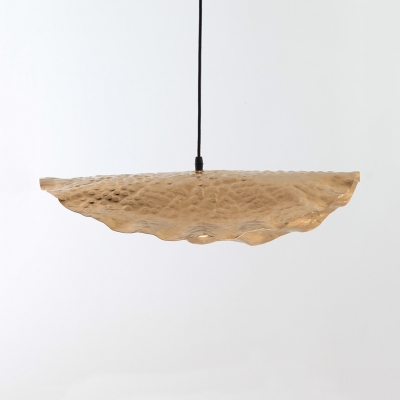 1 Light Lotus Leaf Pendant Light Nordic Style Glass Hanging Lamp in Gold for Kitchen Hallway