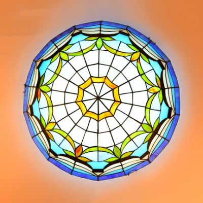 16/19.5 Inch Tiffany Bowl Flush Ceiling Light Stained Glass Ceiling Fixture for Living Room