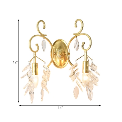 2 Lights Candle Wall Light Elegant Style Clear Crystal Sconce Light in Gold for Bedroom Hallway