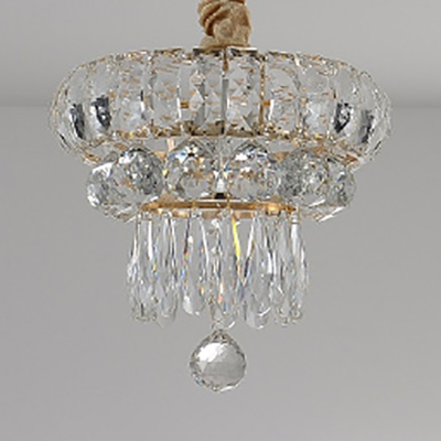 1 Light Cone Pendant Light Elegant Metal Hanging Light with Crystal in Gold for Cloth Shop