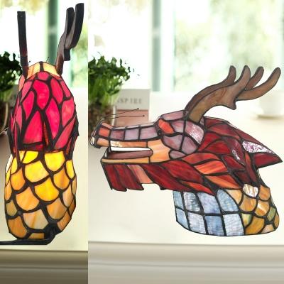 Dragon Head Cafe Table Light Art Glass 1 Bulb Tiffany Creative Night Lamp in Pink