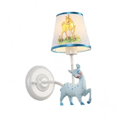 Blue/Pink Deer Wall Light 1 Light Cartoon Metal Wall Lamp with Dot Shade for Nursing Room