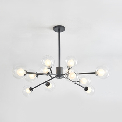 9/12 Lights Branch Ceiling Pendant Modern Stylish Clear Glass Chandelier in Black/Gold for Study Room