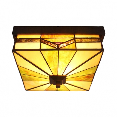 Art Glass Square Flush Mount Light Dining Table Tiffany Antique LED Ceiling Light in Green