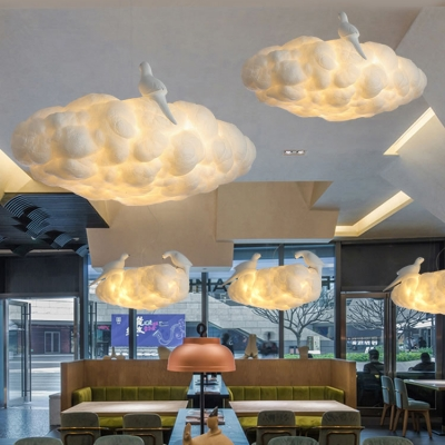 Contemporary White Hanging Light Cloud Fiber Chandelier with Resin Bird in Warm/White for Restaurant