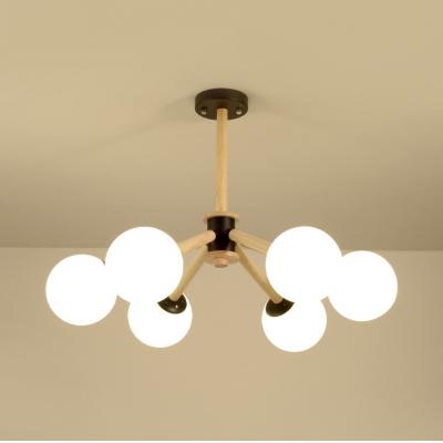 Dining Room Cafe Orb Chandelier Frosted Glass 6 Lights Modern Style Beige Hanging Light
