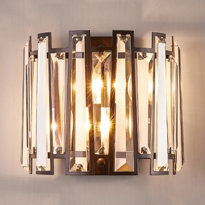 Fence Shape Bedroom Wall Sconce Striking Clear Crystal 2 Heads Wall