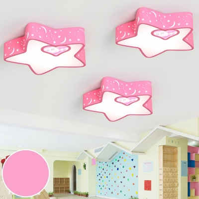Kids Pink LED Ceiling Mount Light Starry Acrylic Ceiling Lamp with Stepless Dimming/Third Gear/White Lighting for Kindergarten