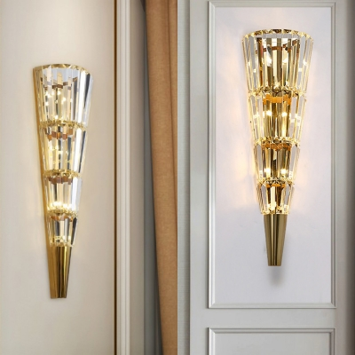 Modern Conical Shade Wall Light with Clear Crystal Metal LED Sconce Light in Gold for Dining Room