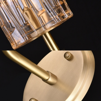 Modern Stylish Candle Wall Light 1/2 Heads Metal Sconce Light with Cylinder Crystal for Hallway Hotel