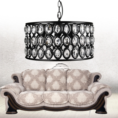 Retro Hollow Round Pendant Light with Glittering Crystal 3 Lights Iron Chandelier in Black for Villa