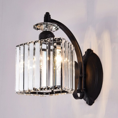 Simple Style Black Wall Light Cube Shade 1 Light Glittering Crystal Wall Sconce for Kitchen HL540478 фото