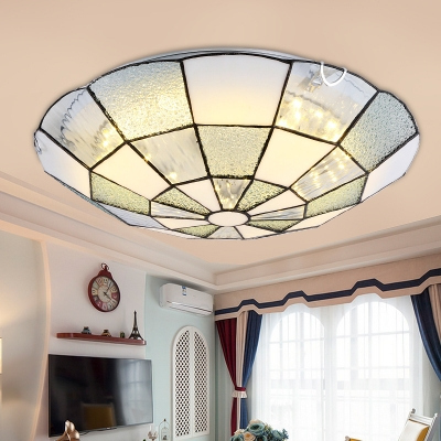 Simple Style White Ceiling Lamp Domed Shade Art Glass Flush Ceiling Light for Dining Room