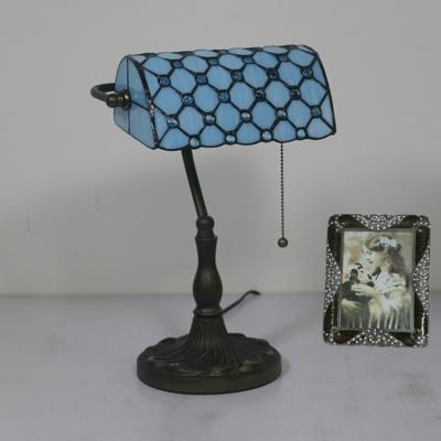 Vintage Tiffany Beads Table Light Art Glass 1 Light Blue/Green/Yellow Banker Lamp for Restaurant