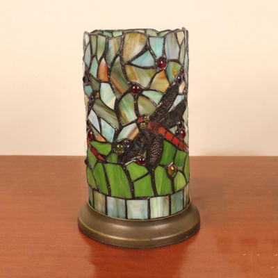 Stained Glass Cylindrical Table Light with Dragonfly Table Room 1 Light Tiffany Animal Night Light