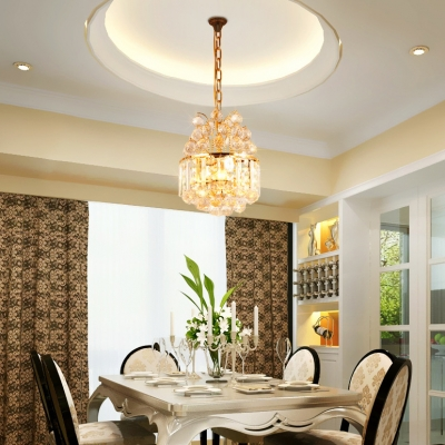 Metal Round LED Ceiling Pendant with Clear Crystal Modern Elegant Chandelier in Gold Finish for Cafe