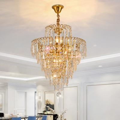 Dining Room Cone Suspension Light Metal Contemporary Gold Chandelier Light for Clear Crystal