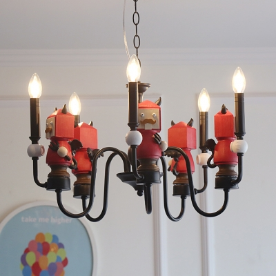 Black/White Candle Ceiling Pendant with Angel/Devil 5 Lights Cartoon Metal Chandelier for Bedroom