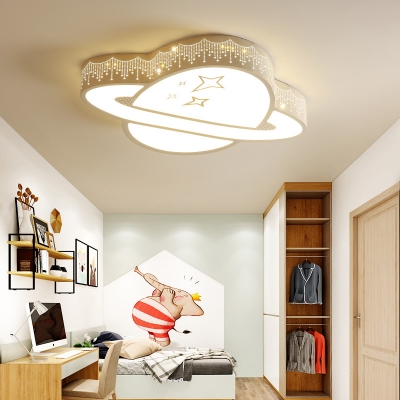 Child Bedroom Heart/Planet Flush Ceiling Light Acrylic Modern Style Stepless Dimming/Warm/White Ceiling Fixture