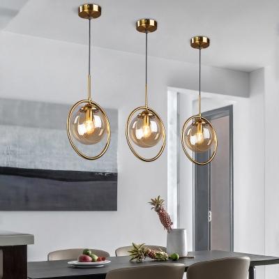 Circular Iron Shade Mini Pendant Light Post Modern 1 Light Hanging Lamp with Amber/Clear/Smoke Glass Inner Shade