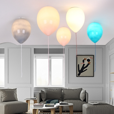 Creative LED Ceiling Fixture Balloon Glass Ceiling Mount Light for Nursing Room Game Room