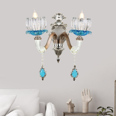 Elegant Lutus Sconce Light with Crystal Decoration 1/2 Lights Metal Wall Lamp for Bedroom