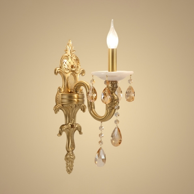 Elegant Style Candle Wall Light Metal 1 Light Gold Sconce Light With Crystal For Hotel Hallway Beautifulhalo Com