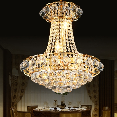 European Style Gold Ceiling Pendant Conical Shape Metal Striking Crystal Chandelier for Bedroom