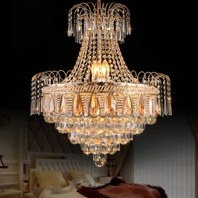 Gold Crown Shaped Chandelier Luxurious Style Clear Crystal Pendant Light for Living Room Villa