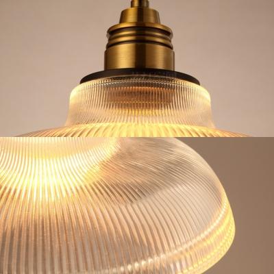 Vintage Style Barn Pendant Light One Light Lattice Glass Hanging Light in Brass for Restaurant