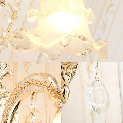 Luxurious Style Blossom Sconce Lamp Metal 1/2 Heads Gold Wall Light with Glittering Crystal for Restaurant