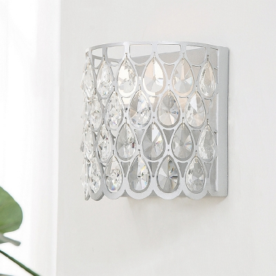 Luxurious Style Teardrop Crystal Wall Light Metal Sconce Light in Gold/Silver for Corridor Bedroom