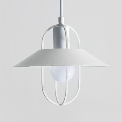 Metal Cage Saucer Drop Light Modern Simple 1 Light Hanging Pendant in Black/Pink/White
