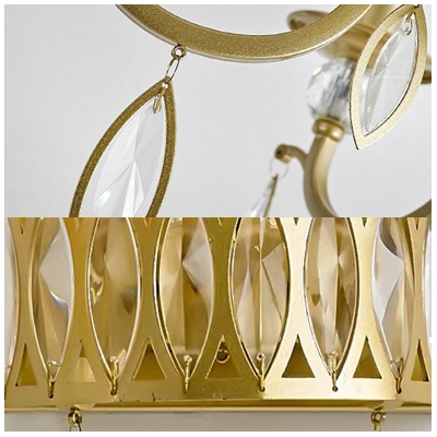 Metal Candle Wall Sconce Two Heads Classic Style Wall Light in Gold Finish with Clear Crystal