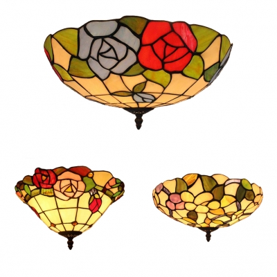 Tiffany Rustic Blossom Ceiling Mount Light Stained Glass Flush Light for Study Room Balcony