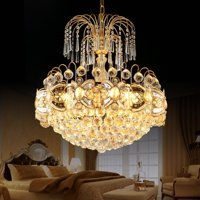Villa Restaurant Dome Pendant Lamp Glamorous Crystal Luxurious Gold Finish Chandelier Light