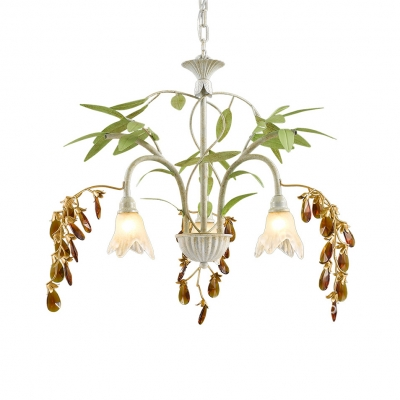 3 Lights Petal Chandelier with Leaf & Crystal Rustic Metal Ceiling Pendant in Black/White for Shop