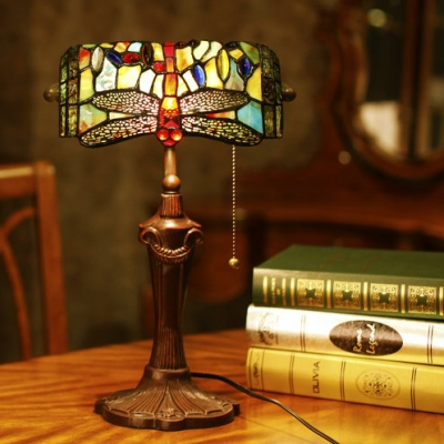 Stained Glass Dragonfly Table Light with Pull Chain Office 1 Head Antique Tiffany Bank Lamp