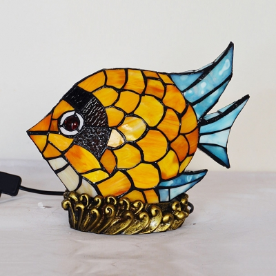 1 Light Fish Desk Light Tiffany Cute Stained Glass Night Light in Yellow for Baby Bedroom
