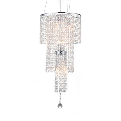 Chrome 3-Tier Hanging Light with Crystal Beads Luxurious Style Metal Chandelier for Villa Foyer