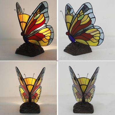 Butterfly Kid Bedroom Table Light Stained Glass 1 Bulb Tiffany Animal Blue/Multi-Color/Yellow Night Light