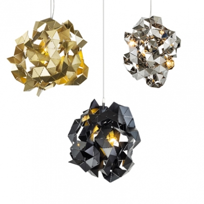 Aluminum Abstract Pendant Light Three Lights Postmodern Chandelier in Black/Gold/Silver for Restaurant