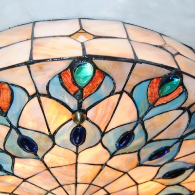 Tiffany Vintage Peacock Ceiling Mount Light Art Glass Multi-Color Flush Ceiling Light for Dining Room