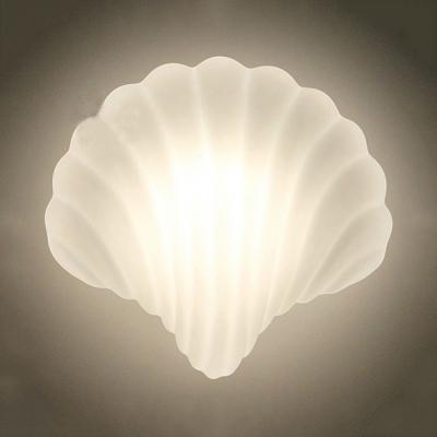 Milk Glass Shell Shaped Wall Light One Light Modern Style LED Sconce Light in White for Dining Room
