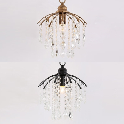 Antique Style Black/Gold Hanging Light with Crystal Deco Single Light Metal Small Chandelier for Stair