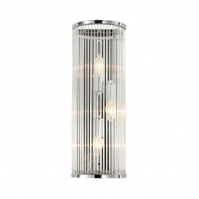 Candle Bedroom LED Wall Light with Cylinder Shade Clear Glass 3 Lights Contemporary Wall Lamp in Chrome