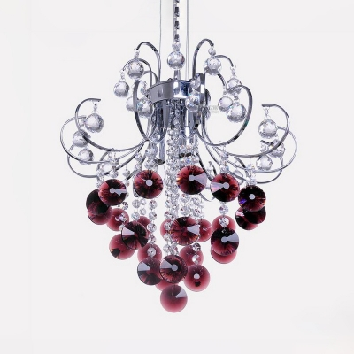 Dining Table Grape Chandelier with Clear & Purple Crystal Metal Royal Chrome Hanging Light