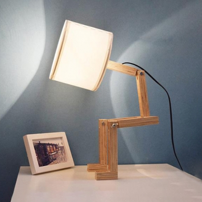 Industrial Robot Table Lamp Adjustable DIY Book Night Light Bedside Lamp Home Decor Wooden Table Lamp with Fabric Shade, White
