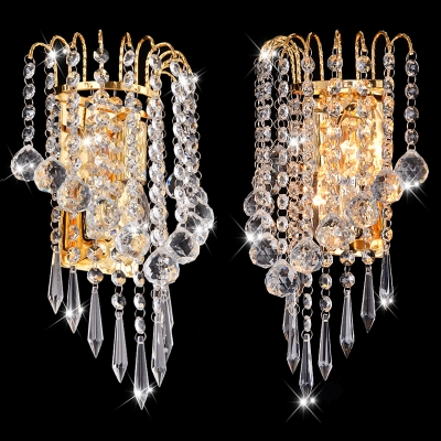 Luxurious Crystal Ball Wall Sconce Two Lights Metal LED Wall Light in Gold for Corridor Bedroom