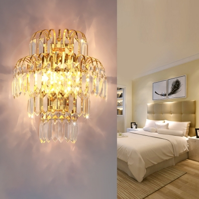 Luxurious Modern Gold Sconce Light Fireworks Shape Clear Crystal Metal Wall Light for Bedroom Hotel